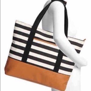 DSW Black & White Striped Tote Bag. New!